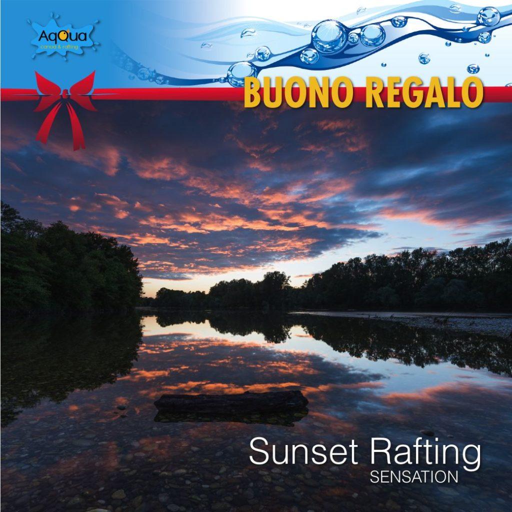 buono regalo per natale di discesa asset rafting con immagine del fiume al tramonto